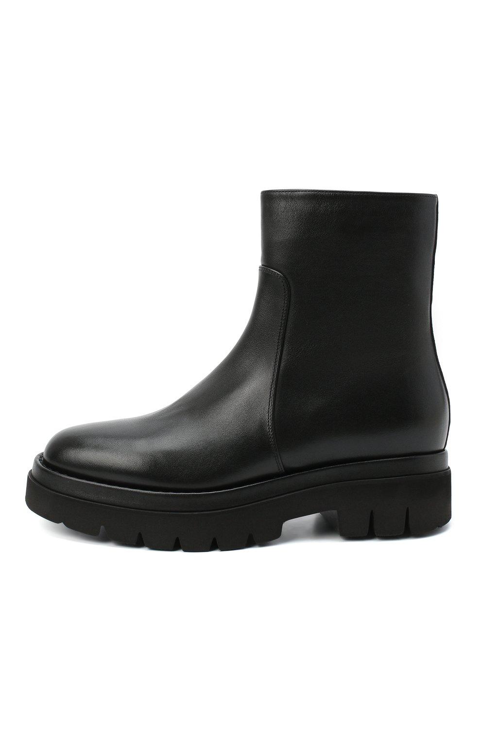 Женские кожаные ботинки SANTONI черного цвета, арт. WTER58956G0MNLMBN01 | Фото 3