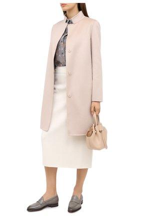 Женские кожаные лоферы SANTONI серого цвета, арт. WUGY57751BA1NLVVG51 | Фото 2
