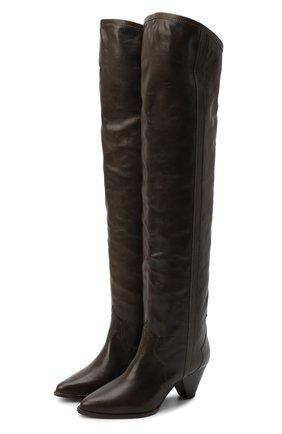 Женские кожаные ботфорты remko ISABEL MARANT темно-коричневого цвета, арт. REMK0/CD0035-20A041S | Фото 1