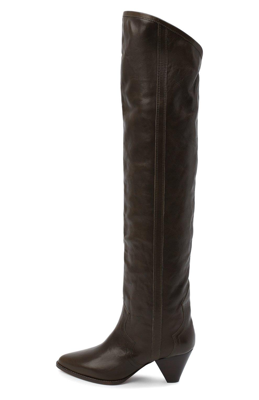 Женские кожаные ботфорты remko ISABEL MARANT темно-коричневого цвета, арт. REMK0/CD0035-20A041S | Фото 3