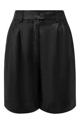 Женские кожаные шорты MASLOV черного цвета, арт. SH001 | Фото 1