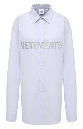 Женская хлопковая рубашка VETEMENTS голубого цвета, арт. UAH21SH067 1012/W   Фото 1