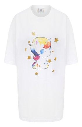 Женская хлопковая футболка VETEMENTS белого цвета, арт. UAH21TR563 1608/W   Фото 1