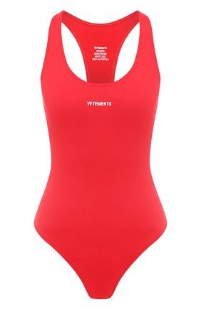 Женский слитный купальник VETEMENTS красного цвета, арт. WAH21TR289 1332/RED | Фото 1