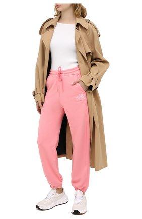 Женские хлопковые джоггеры MSGM розового цвета, арт. 2941MDP60 207799 | Фото 2