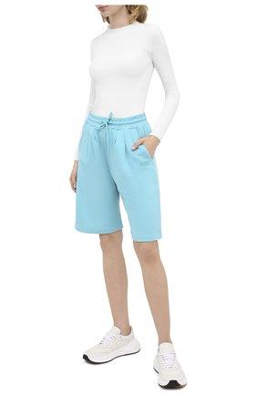 Женские хлопковые шорты MSGM голубого цвета, арт. 2941MDB60 207799 | Фото 2