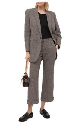 Женские шерстяные брюки SAINT LAURENT серого цвета, арт. 635947/Y5B64 | Фото 2