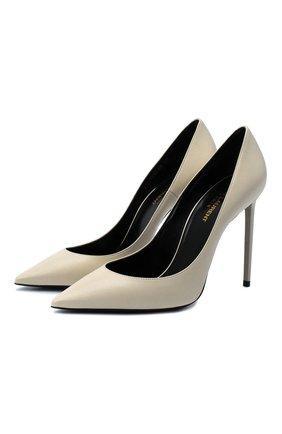 Женская кожаные туфли zoe SAINT LAURENT белого цвета, арт. 529733/1ZJ00 | Фото 1