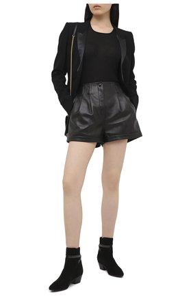 Женские замшевые ботинки west SAINT LAURENT черного цвета, арт. 630419/1NZLL   Фото 2