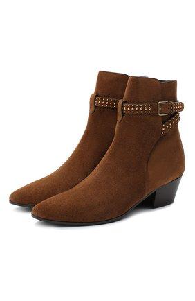 Женские замшевые ботинки west SAINT LAURENT коричневого цвета, арт. 630419/1NZTT   Фото 1