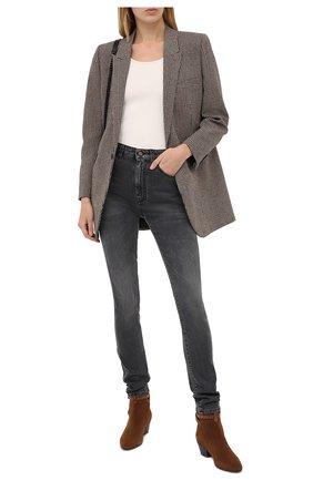 Женские замшевые ботинки west SAINT LAURENT коричневого цвета, арт. 630419/1NZTT   Фото 2