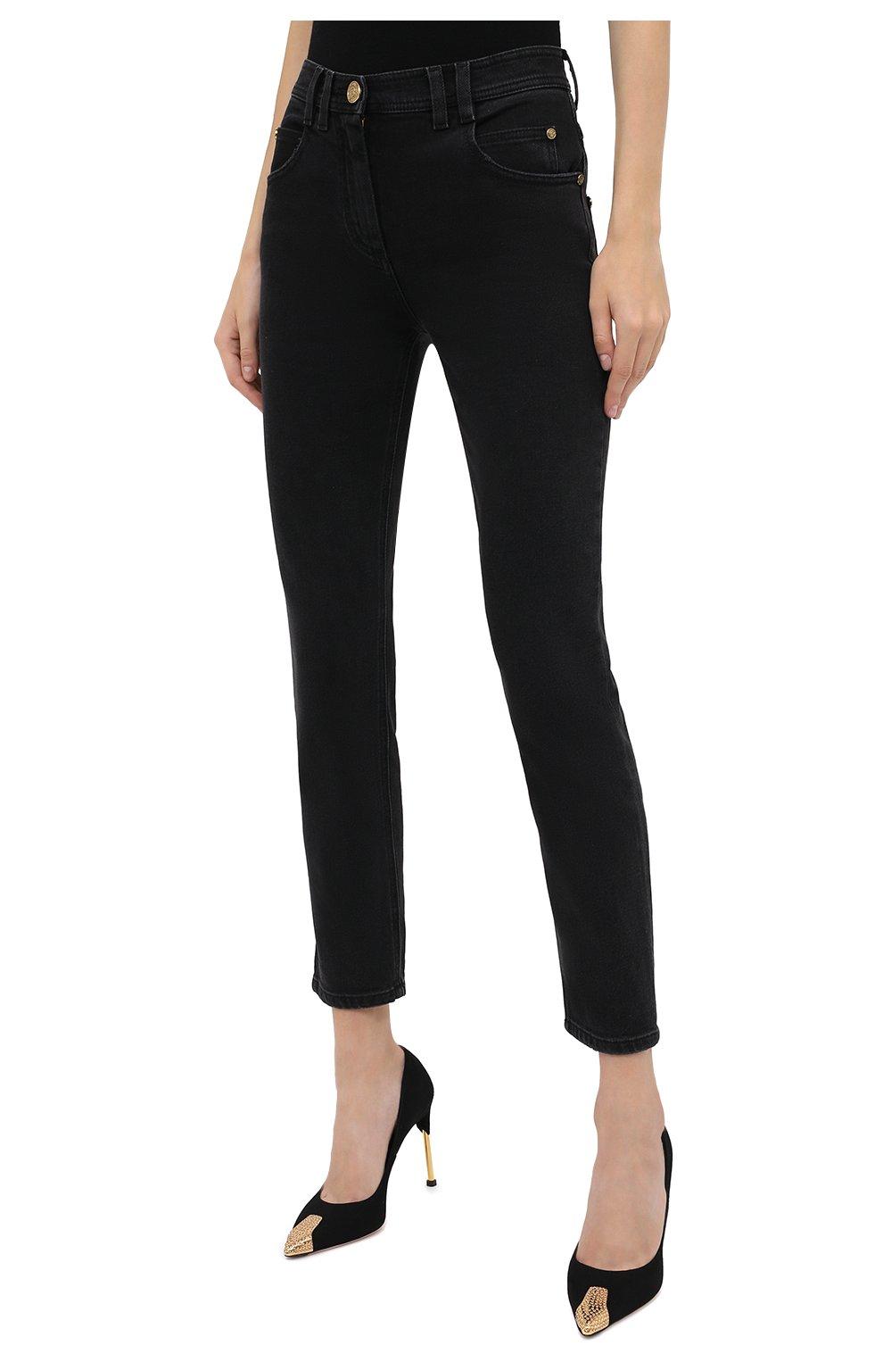 Женские джинсы BALMAIN темно-серого цвета, арт. UF15515/D047 | Фото 4