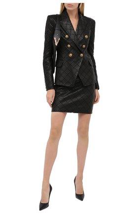 Женская кожаная юбка BALMAIN черного цвета, арт. UF14300/L027 | Фото 2