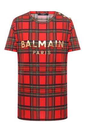 Женская хлопковая футболка BALMAIN красного цвета, арт. UF11350/I525 | Фото 1