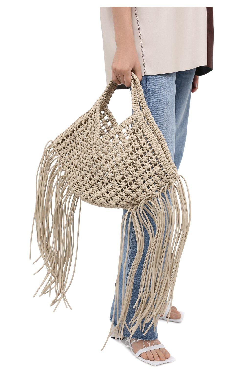 Женский сумка basket YUZEFI светло-бежевого цвета, арт. YUZPF20-SW-01 | Фото 2 (Сумки-технические: Сумки-шопперы; Ошибки технического описания: Нет ширины; Размер: medium; Материал: Текстиль)