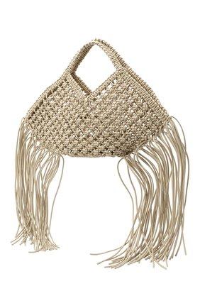 Женский сумка basket YUZEFI светло-бежевого цвета, арт. YUZPF20-SW-01 | Фото 3 (Сумки-технические: Сумки-шопперы; Ошибки технического описания: Нет ширины; Размер: medium; Материал: Текстиль)