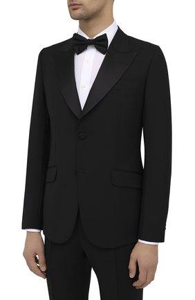Мужской шерстяной смокинг GUCCI черного цвета, арт. 606245/Z592B | Фото 2
