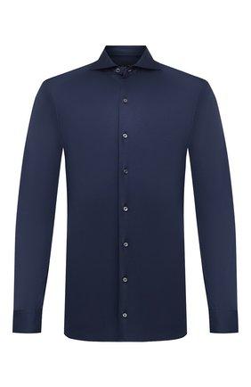 Мужская хлопковая рубашка VAN LAACK синего цвета, арт. M-PER-LSF/180031 | Фото 1 (Рукава: Длинные; Длина (для топов): Стандартные; Материал внешний: Хлопок; Мужское Кросс-КТ: Рубашка-одежда; Случай: Повседневный; Принт: Однотонные; Стили: Кэжуэл; Манжеты: На пуговицах; Воротник: Акула)