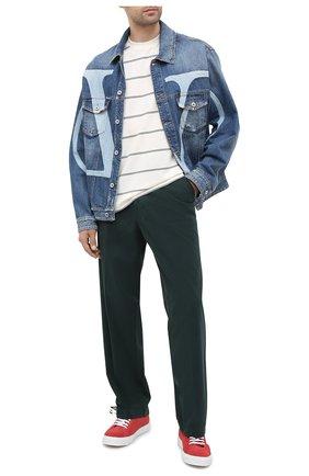Мужской хлопковые брюки KENZO темно-зеленого цвета, арт. FA65PA2551TA   Фото 2