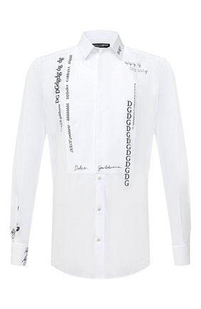 Мужская хлопковая сорочка DOLCE & GABBANA белого цвета, арт. G5GT6T/HP58T   Фото 1