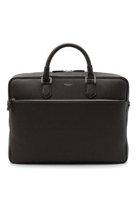 Мужская кожаная сумка для ноутбука SERAPIAN темно-коричневого цвета, арт. SCACHMLL7065M40A | Фото 1