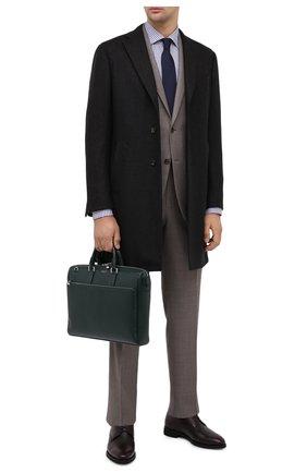 Мужская кожаная сумка для ноутбука SERAPIAN темно-зеленого цвета, арт. SEV0LMLL6198M38B | Фото 2