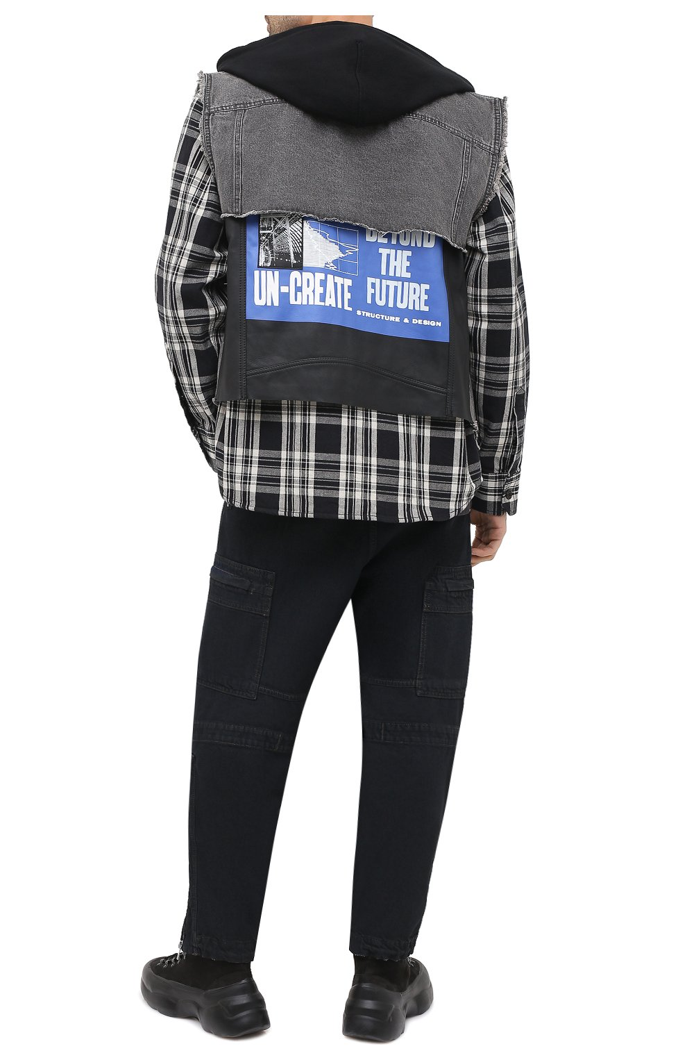 Мужская комбинированная куртка DIESEL черного цвета, арт. A00209/0KAYD | Фото 2