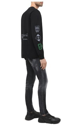 Мужская хлопковый лонгслив DIESEL черного цвета, арт. A00807/0GRAM | Фото 2