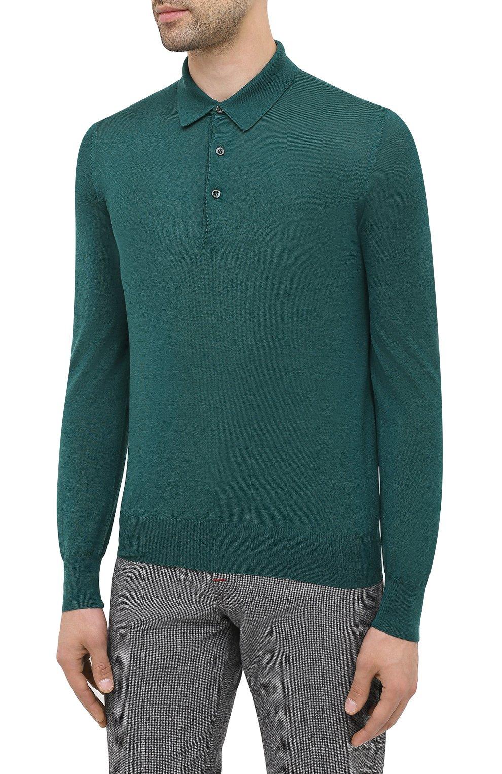 Мужское шерстяное поло GRAN SASSO зеленого цвета, арт. 45132/14790 | Фото 3