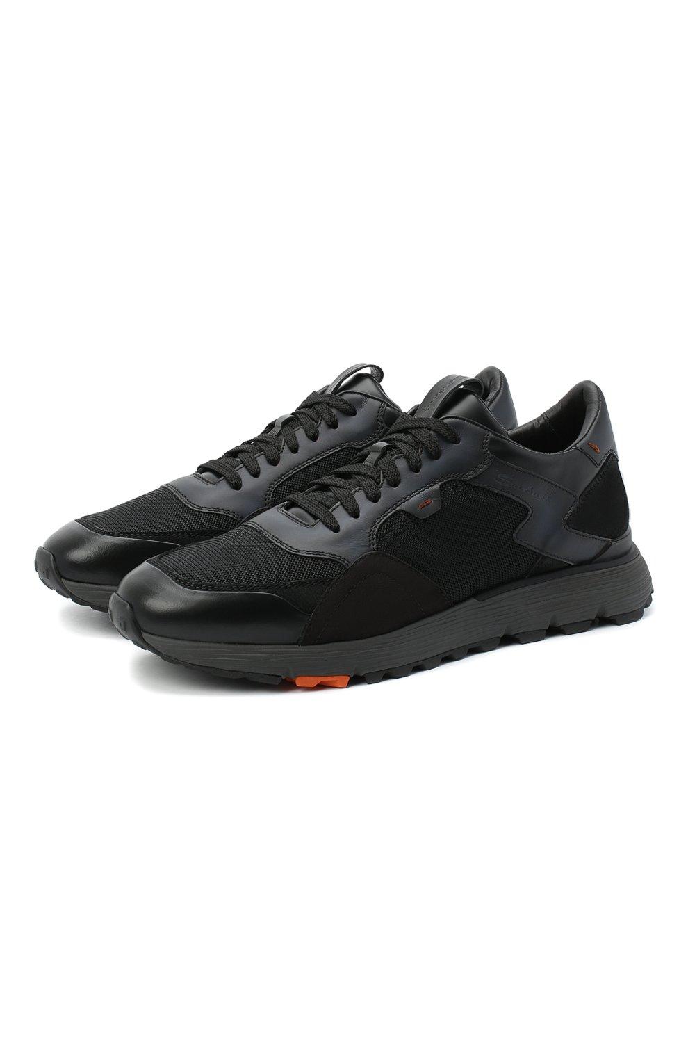 Мужские комбинированные кроссовки SANTONI черного цвета, арт. MBCR21297ANARJXNN55   Фото 1 (Материал внешний: Кожа; Материал внутренний: Натуральная кожа; Стили: Классический; Подошва: Массивная)