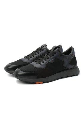Мужские комбинированные кроссовки SANTONI черного цвета, арт. MBCR21297ANARJXNN55 | Фото 1