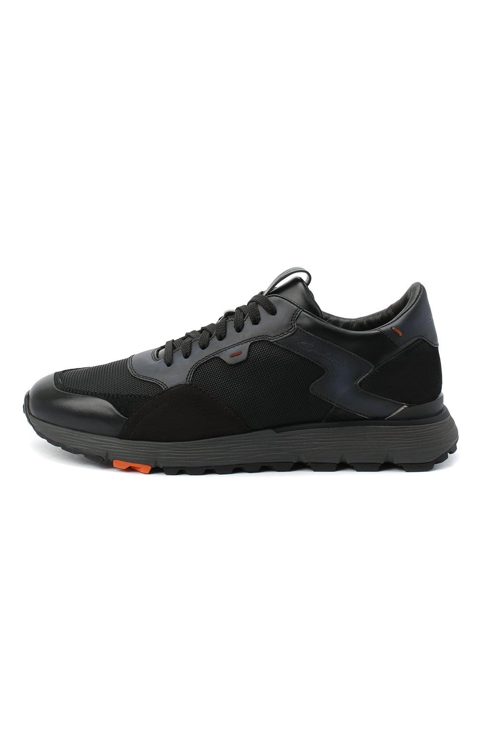 Мужские комбинированные кроссовки SANTONI черного цвета, арт. MBCR21297ANARJXNN55   Фото 3 (Материал внешний: Кожа; Материал внутренний: Натуральная кожа; Стили: Классический; Подошва: Массивная)
