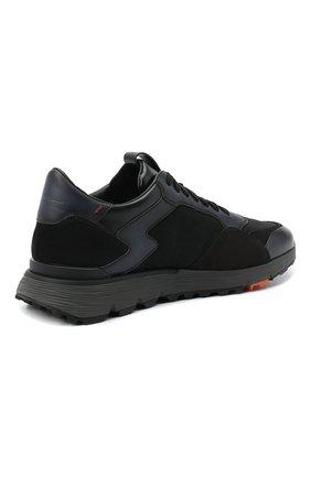 Мужские комбинированные кроссовки SANTONI черного цвета, арт. MBCR21297ANARJXNN55   Фото 4 (Материал внешний: Кожа; Материал внутренний: Натуральная кожа; Стили: Классический; Подошва: Массивная)