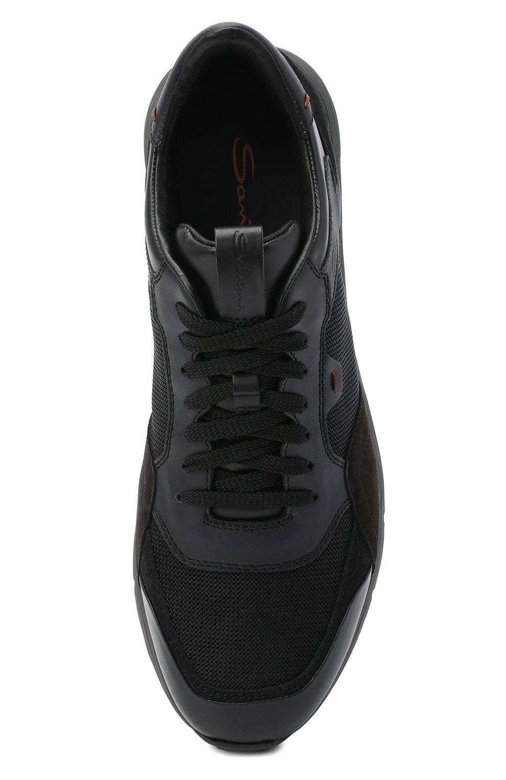 Мужские комбинированные кроссовки SANTONI черного цвета, арт. MBCR21297ANARJXNN55   Фото 5 (Материал внешний: Кожа; Материал внутренний: Натуральная кожа; Стили: Классический; Подошва: Массивная)