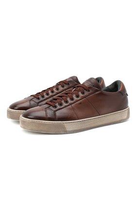 Мужские кожаные кеды SANTONI коричневого цвета, арт. MBGL20850SP0RG00S50 | Фото 1