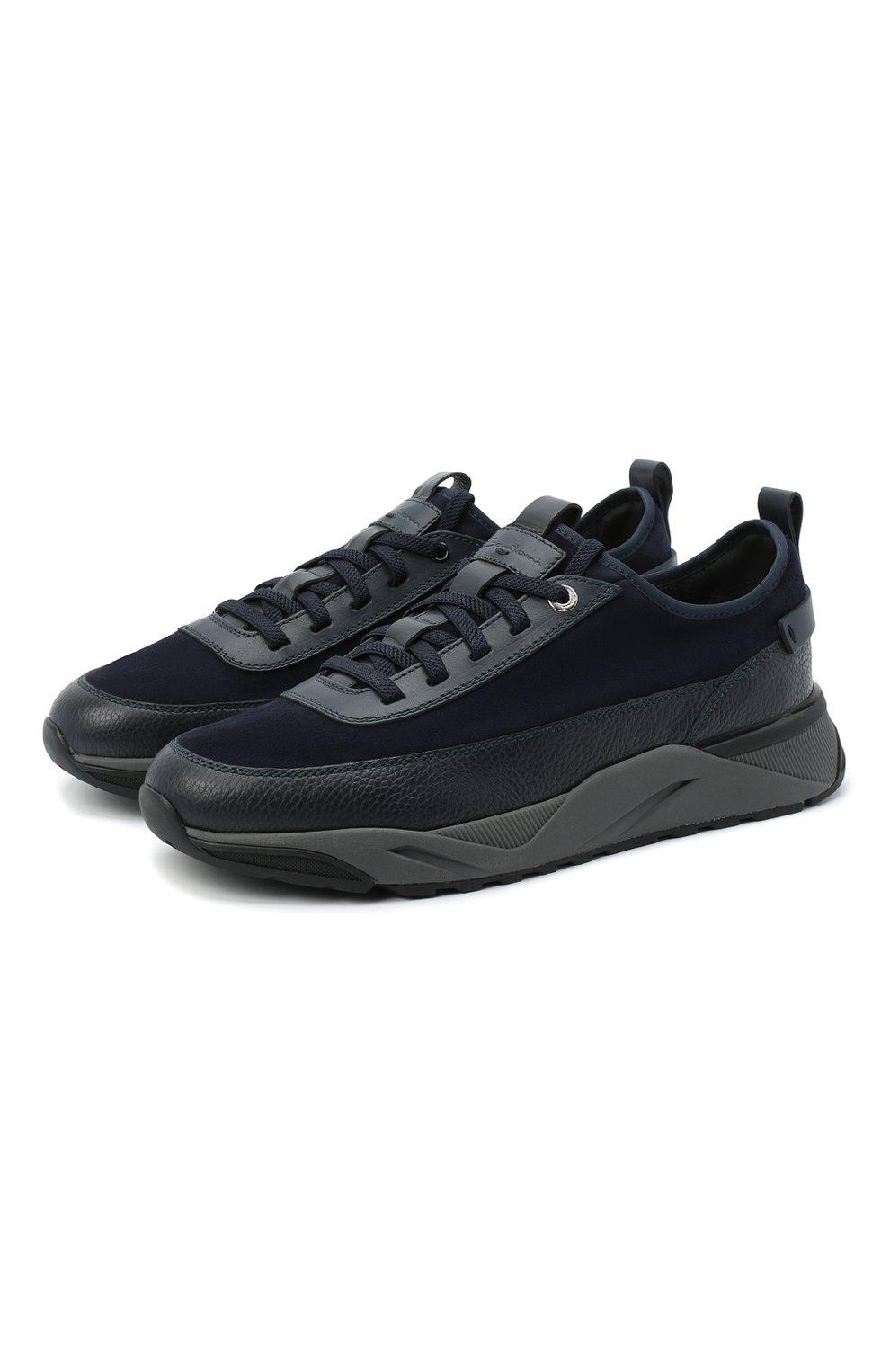 Мужские комбинированные кроссовки SANTONI темно-синего цвета, арт. MBI021323ANERVBRU75 | Фото 1 (Материал внешний: Кожа; Материал внутренний: Натуральная кожа, Текстиль; Стили: Классический; Подошва: Массивная)