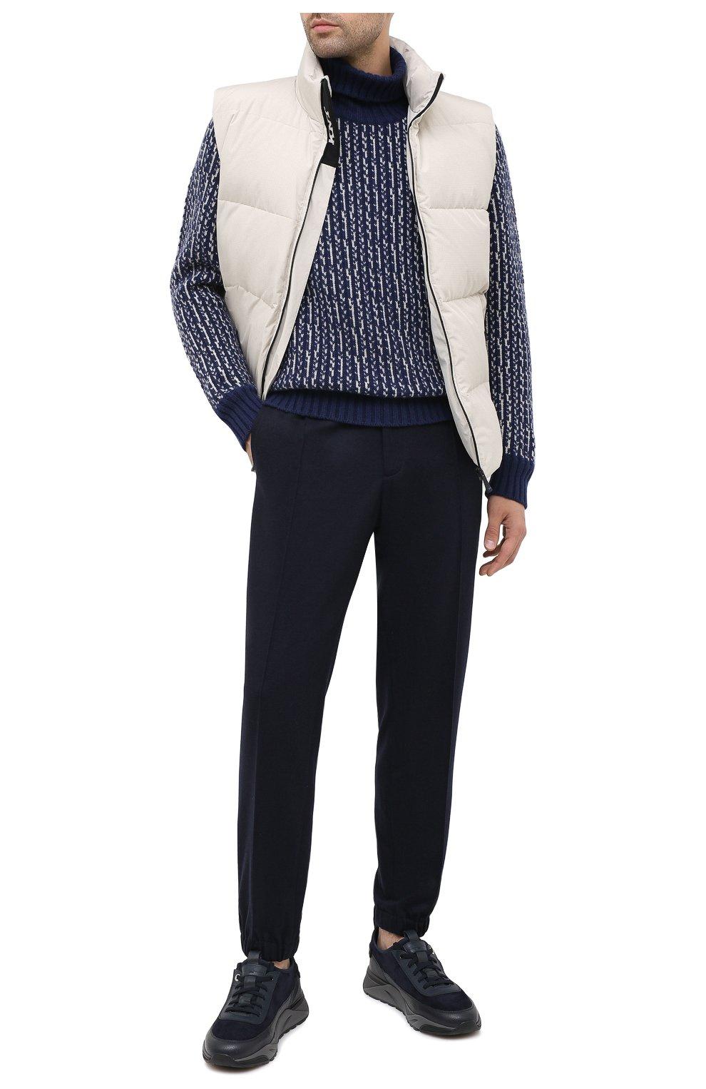 Мужские комбинированные кроссовки SANTONI темно-синего цвета, арт. MBI021323ANERVBRU75 | Фото 2 (Материал внешний: Кожа; Материал внутренний: Натуральная кожа, Текстиль; Стили: Классический; Подошва: Массивная)