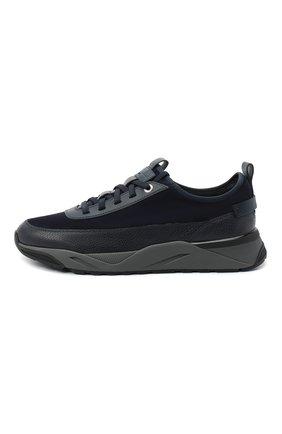 Мужские комбинированные кроссовки SANTONI темно-синего цвета, арт. MBI021323ANERVBRU75 | Фото 3 (Материал внешний: Кожа; Материал внутренний: Натуральная кожа, Текстиль; Стили: Классический; Подошва: Массивная)