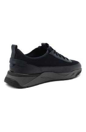 Мужские комбинированные кроссовки SANTONI темно-синего цвета, арт. MBI021323ANERVBRU75 | Фото 4 (Материал внешний: Кожа; Материал внутренний: Натуральная кожа, Текстиль; Стили: Классический; Подошва: Массивная)
