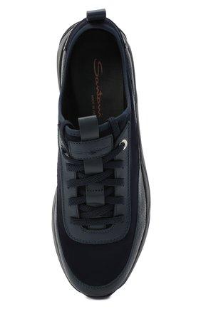 Мужские комбинированные кроссовки SANTONI темно-синего цвета, арт. MBI021323ANERVBRU75 | Фото 5 (Материал внешний: Кожа; Материал внутренний: Натуральная кожа, Текстиль; Стили: Классический; Подошва: Массивная)