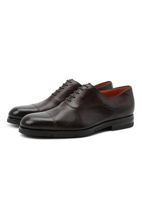 Мужские кожаные оксфорды SANTONI коричневого цвета, арт. MCAZ16503SI5EKYBT50 | Фото 1