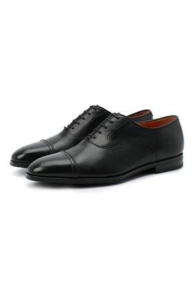 Мужские кожаные оксфорды SANTONI черного цвета, арт. MCLE16207SI1ESCSN01 | Фото 1