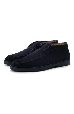 Мужские замшевые ботинки SANTONI темно-синего цвета, арт. MGYA16715ABIAPMSU60 | Фото 1