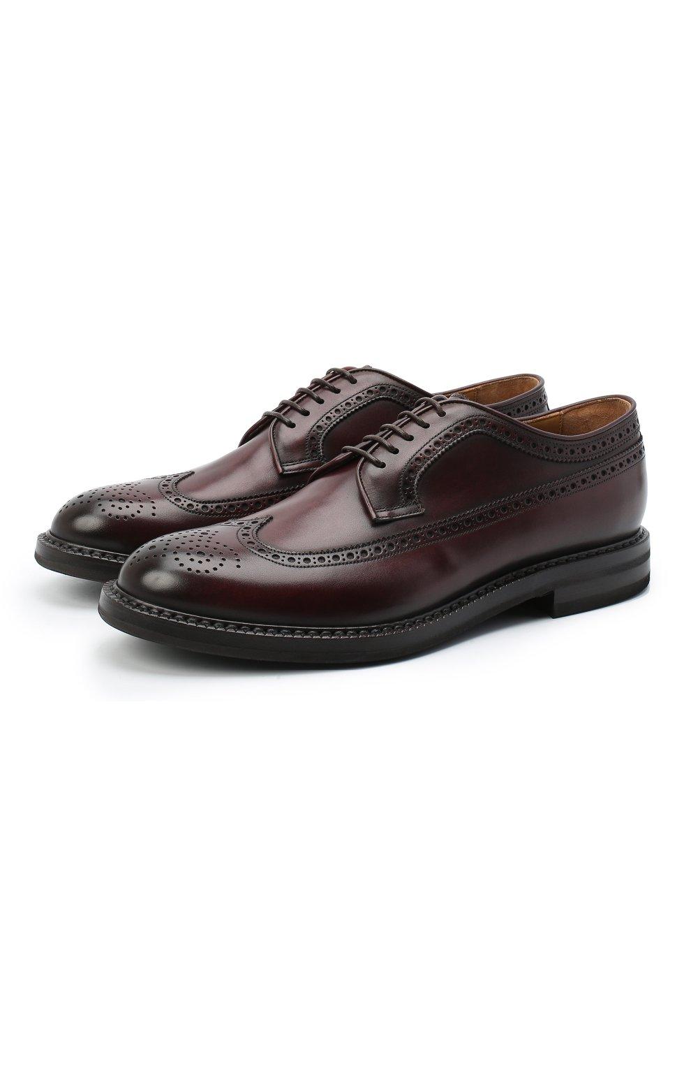 Мужские кожаные дерби W.GIBBS бордового цвета, арт. 0105003/2243   Фото 1 (Мужское Кросс-КТ: Броги-обувь; Материал внутренний: Натуральная кожа; Стили: Классический)