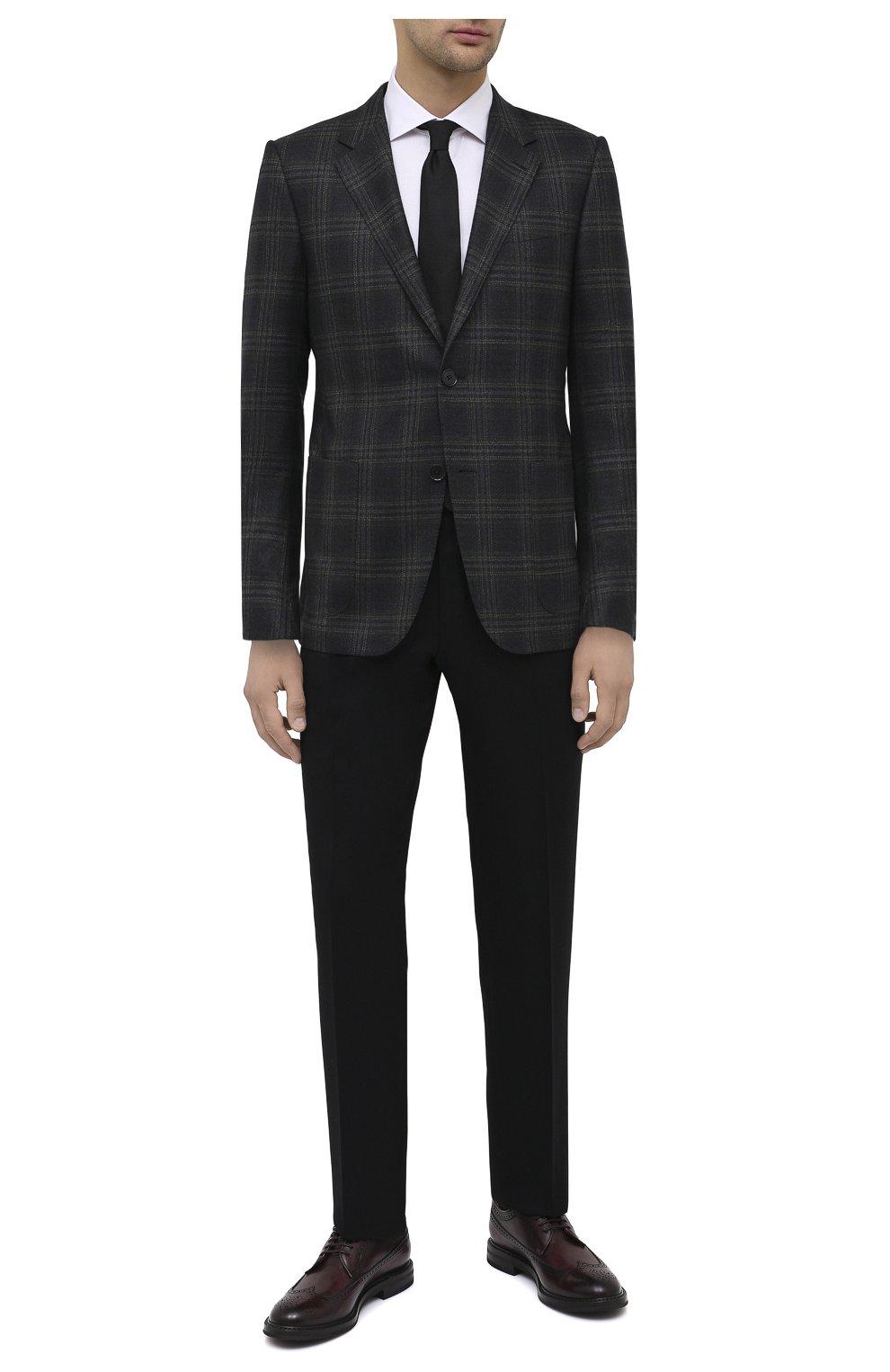 Мужские кожаные дерби W.GIBBS бордового цвета, арт. 0105003/2243   Фото 2 (Мужское Кросс-КТ: Броги-обувь; Материал внутренний: Натуральная кожа; Стили: Классический)