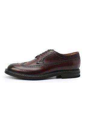 Мужские кожаные дерби W.GIBBS бордового цвета, арт. 0105003/2243   Фото 3 (Мужское Кросс-КТ: Броги-обувь; Материал внутренний: Натуральная кожа; Стили: Классический)