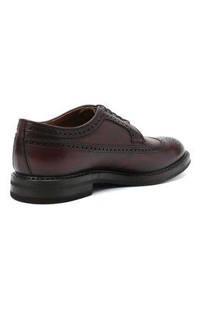 Мужские кожаные дерби W.GIBBS бордового цвета, арт. 0105003/2243   Фото 4 (Мужское Кросс-КТ: Броги-обувь; Материал внутренний: Натуральная кожа; Стили: Классический)