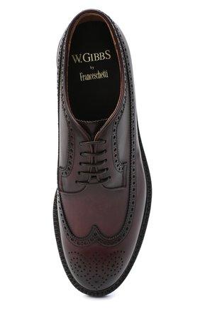 Мужские кожаные дерби W.GIBBS бордового цвета, арт. 0105003/2243   Фото 5 (Мужское Кросс-КТ: Броги-обувь; Материал внутренний: Натуральная кожа; Стили: Классический)