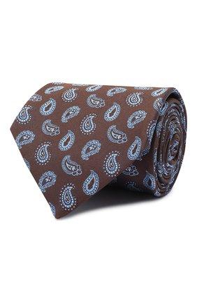 Мужской шелковый галстук BRIONI коричневого цвета, арт. 062I00/09428 | Фото 1