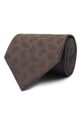 Мужской шелковый галстук BRIONI хаки цвета, арт. 062I00/09428 | Фото 1